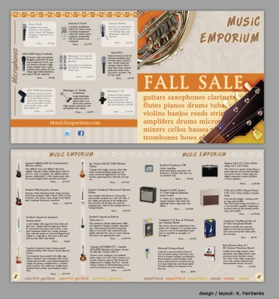 Music Store Ad Created by K. Fairbanks in Page Layout Software