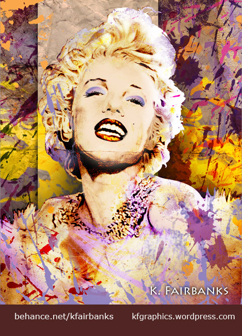 Pencil drawing of Marilyn Monroe modified in Photoshop